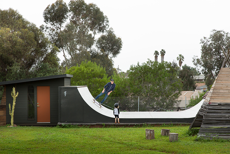 I built this half pipe, shed and teepee in my backyard. Featured in  San Diego Magazine April 2017 . Photo by Robert Benson.