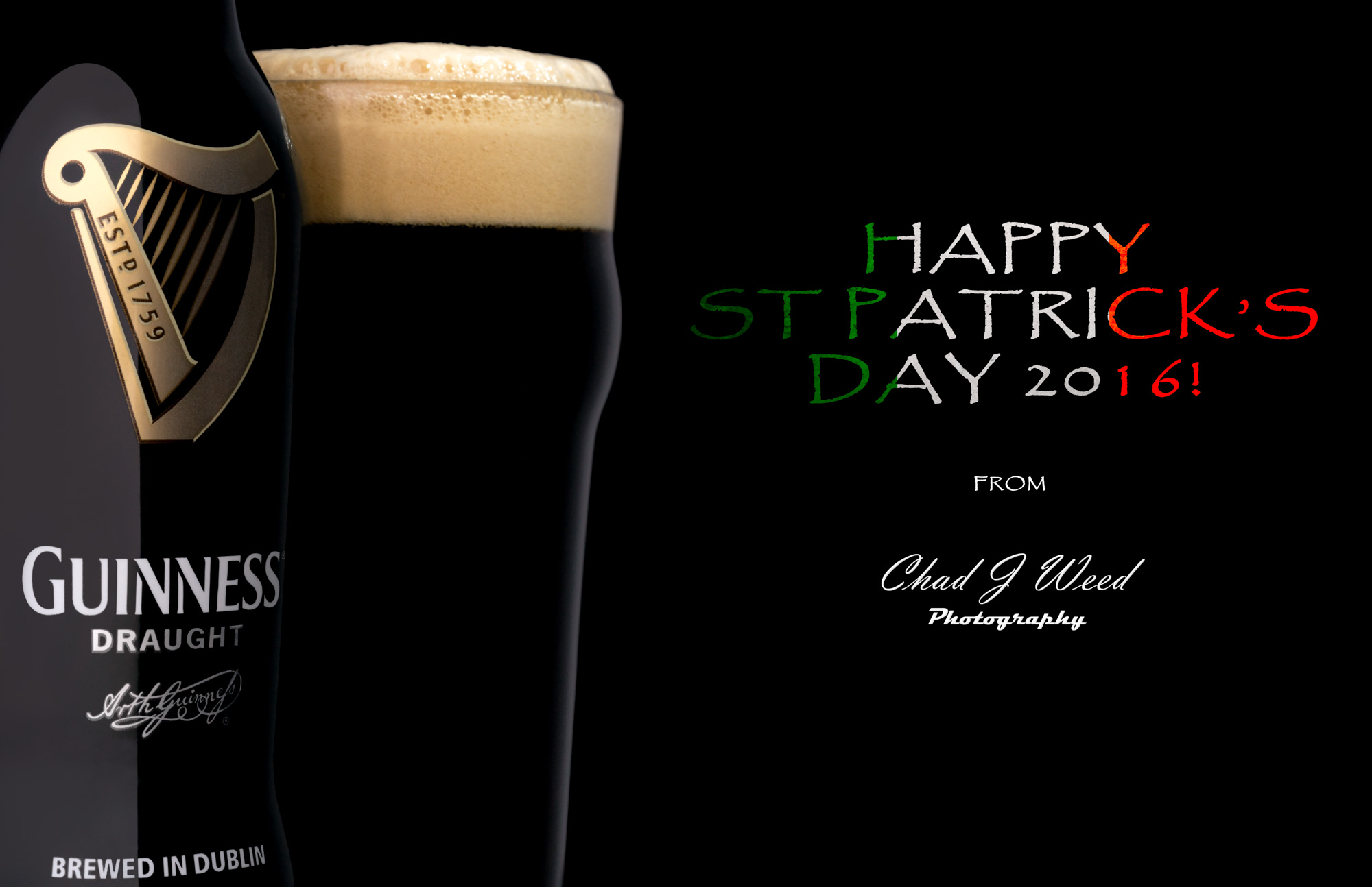 Happy St Patrick's Day 2016 Guinness Draught Beer Arizona Commercial Beverage Photographer Chad J Weed