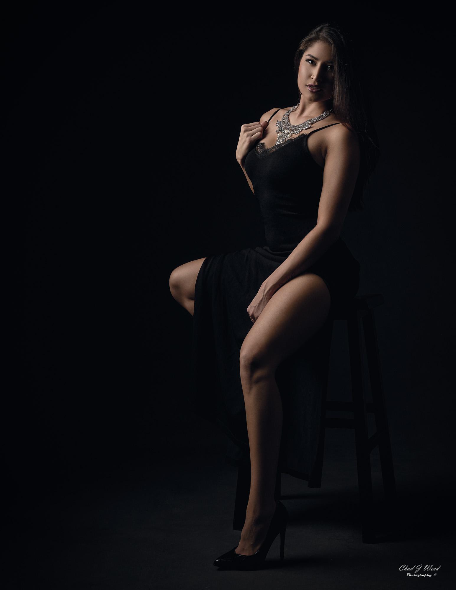 Arizona Fashion Photographer Chad Weed with Fitness Model Ashly - Black Dress 1