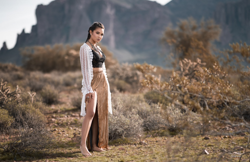 Zari at Superstition Mountains with Mesa Arizona Fashion Photographer Chad Weed
