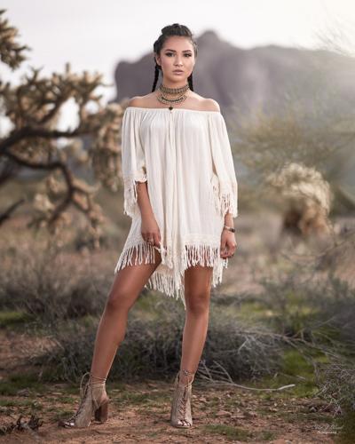 Superstition Mountains with Mesa Arizona Fashion Photographer Chad Weed and Fashion Model Zari