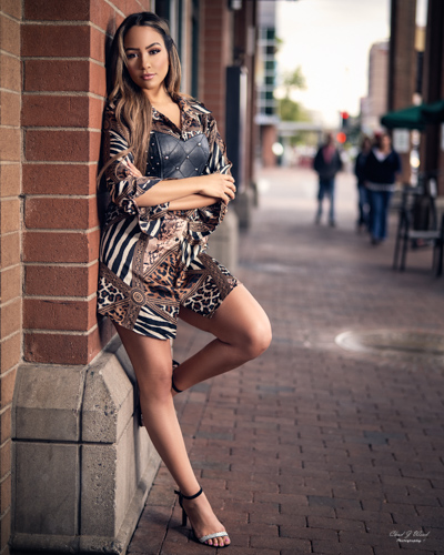 Tempe Arizona Fashion Photographer Chad Weed and Fashion Model Samantha on Mill Ave