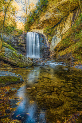 Looking Glass Falls in the Fall