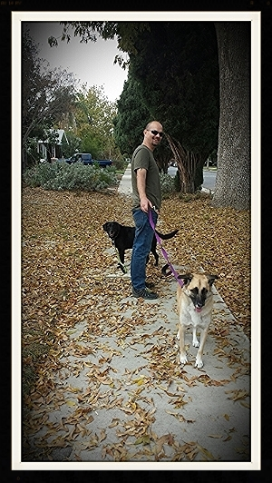 Carolina and Dakota on a walk                                                  November, 2014
