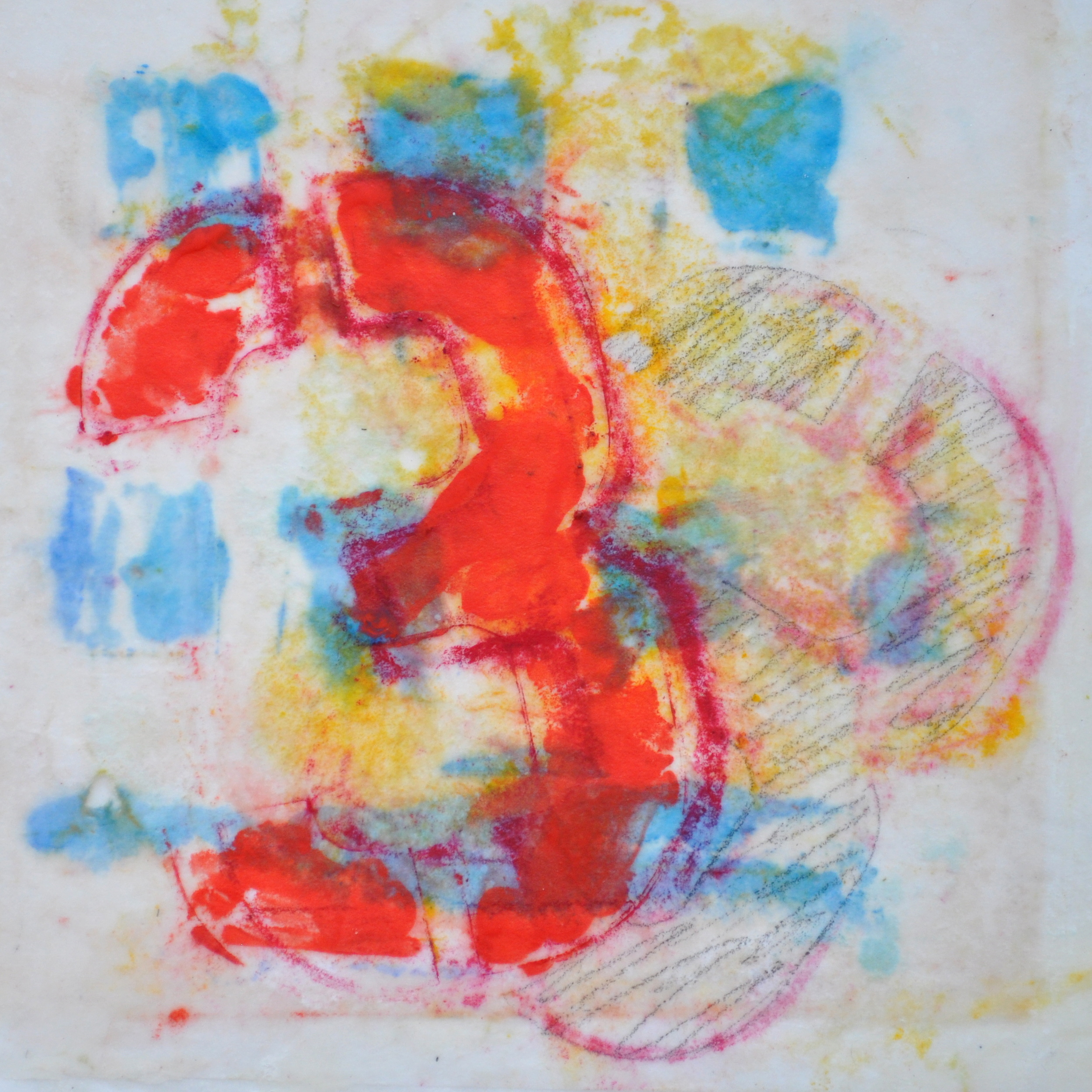 Threeplay encaustic, monotype & mixed media on paper, 8x8""