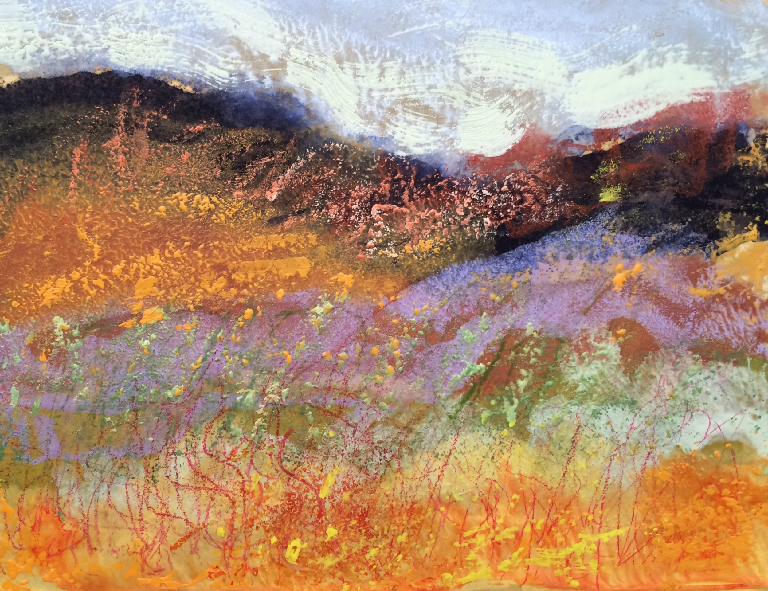 Eastern Washington Landscape encaustic, monotype & mixed media on paper, 8x6""