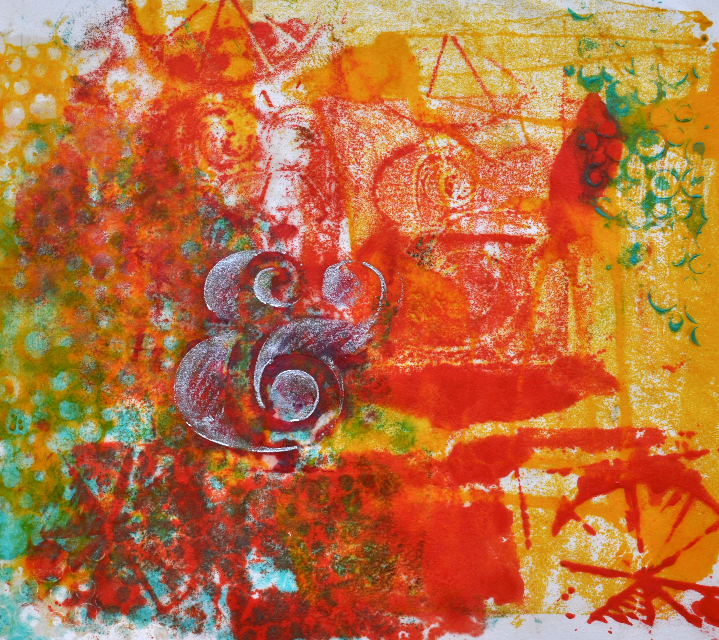 & with Circles encaustic, monotype & mixed media on paper, 8x6""