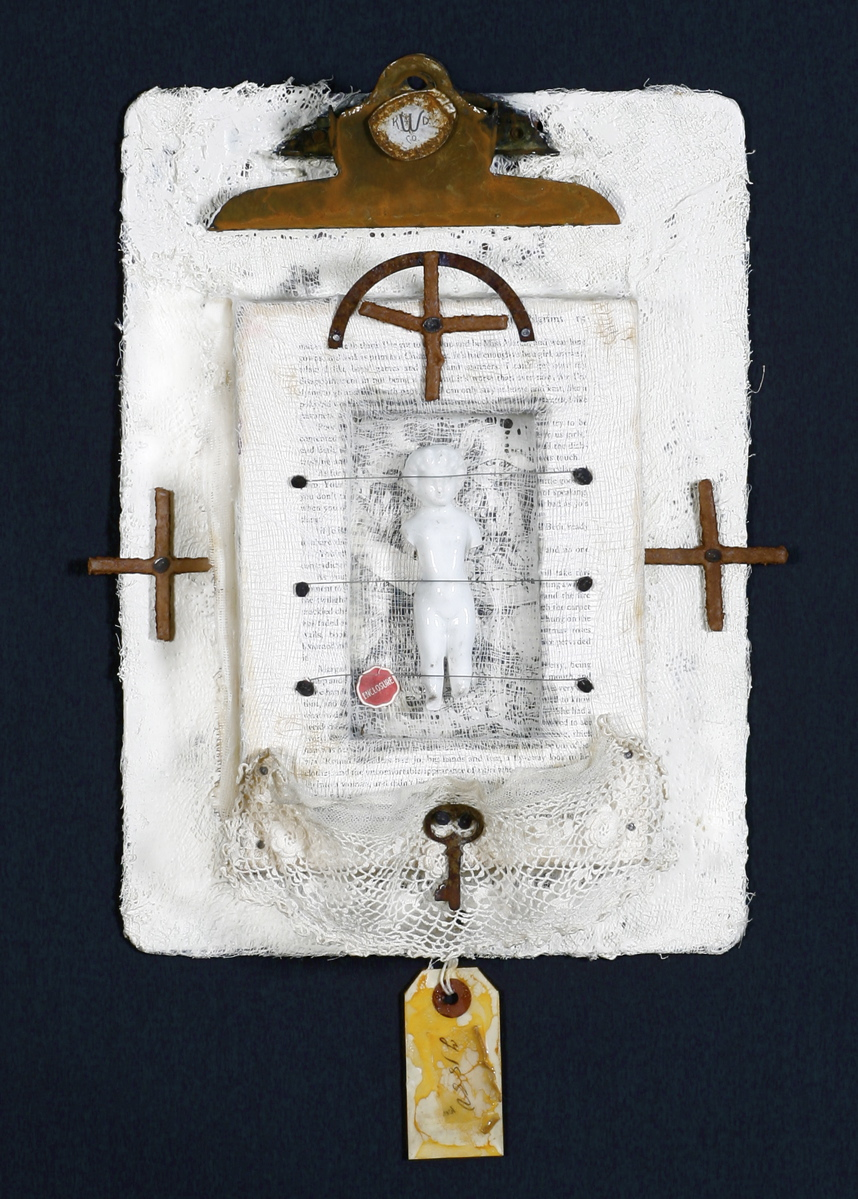 """Enclosure encaustic, book & found objects, 18x22x3"""""""