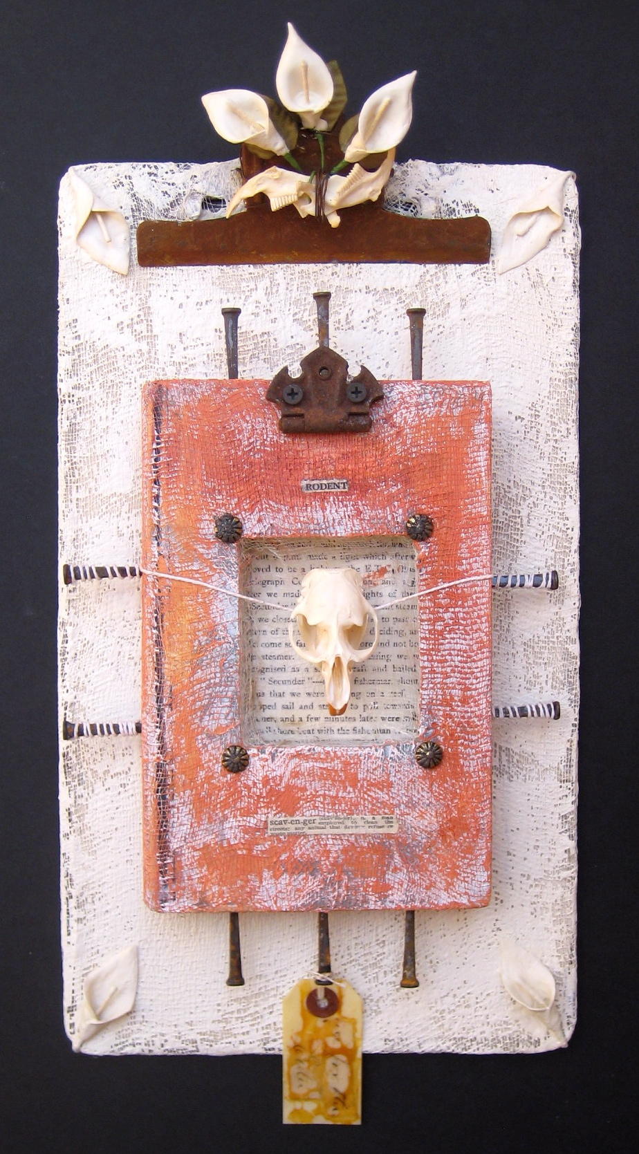 """The Rodent Speaks encaustic, book & found objects, 9x18x2"""""""