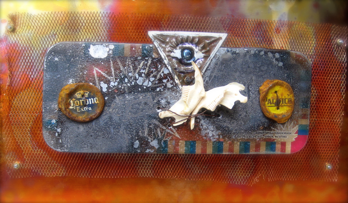 """Metal Journal Cover copper, bones & found objects, 12x9x4"""""""