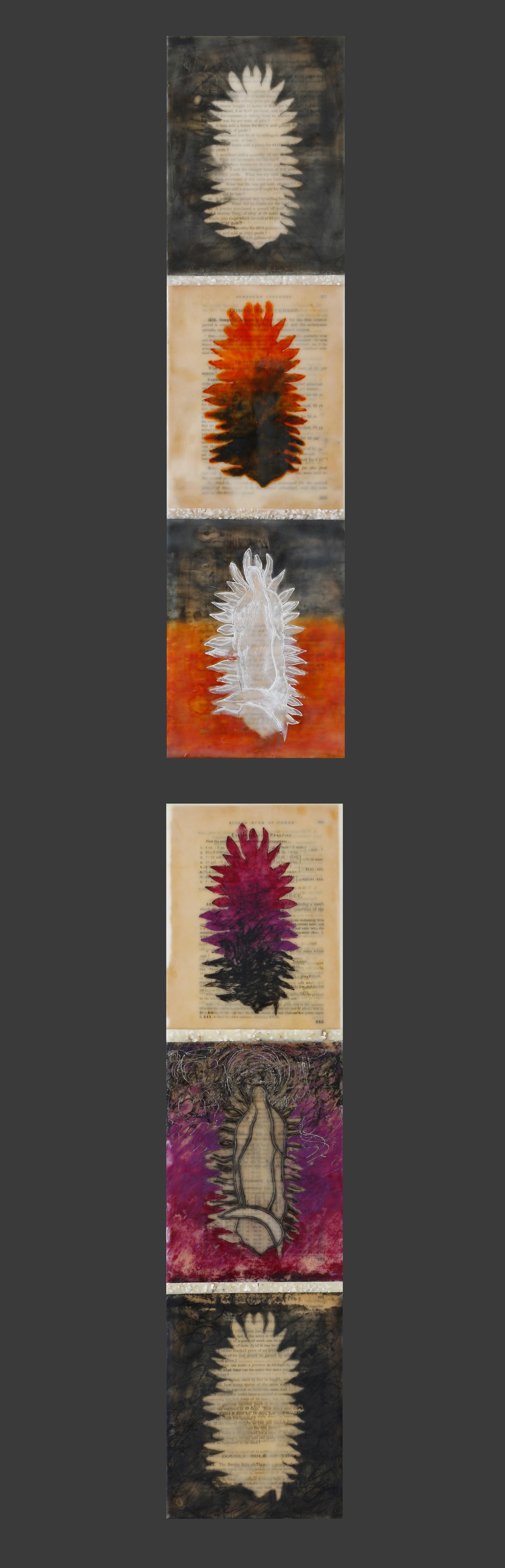 """Totem 1 & 2 encaustic, mixed media & egg shells, 6x50"""""""