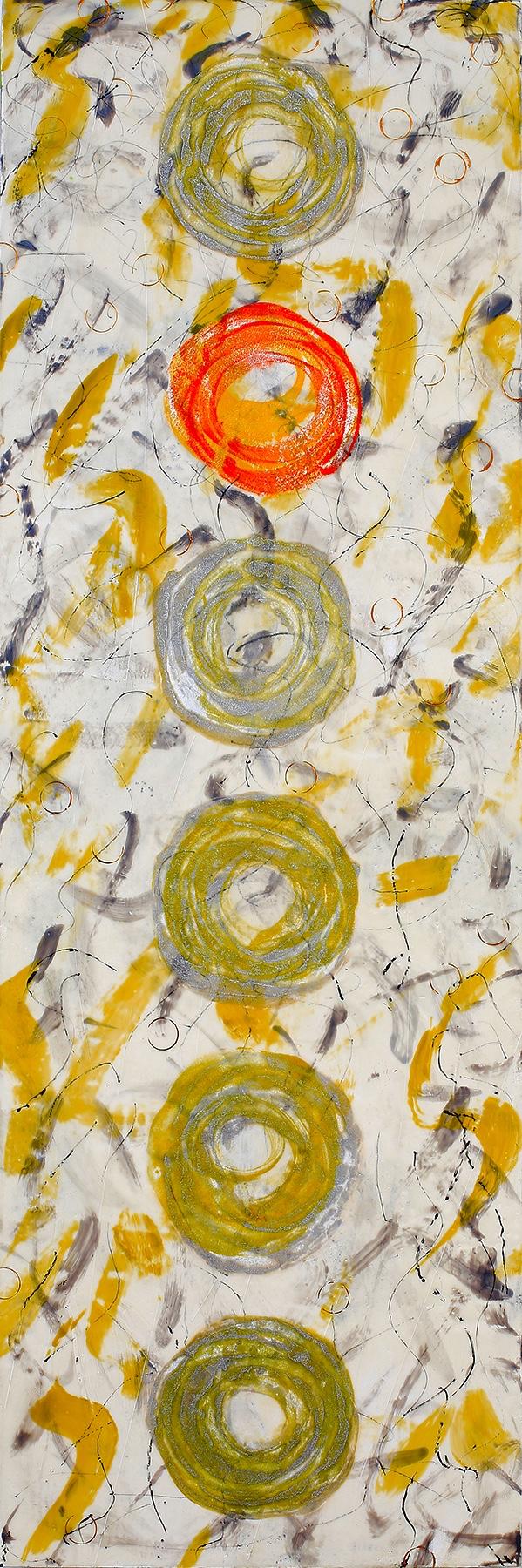 "Non-Conformist encaustic, mixed media, & glass threads,12x36"""