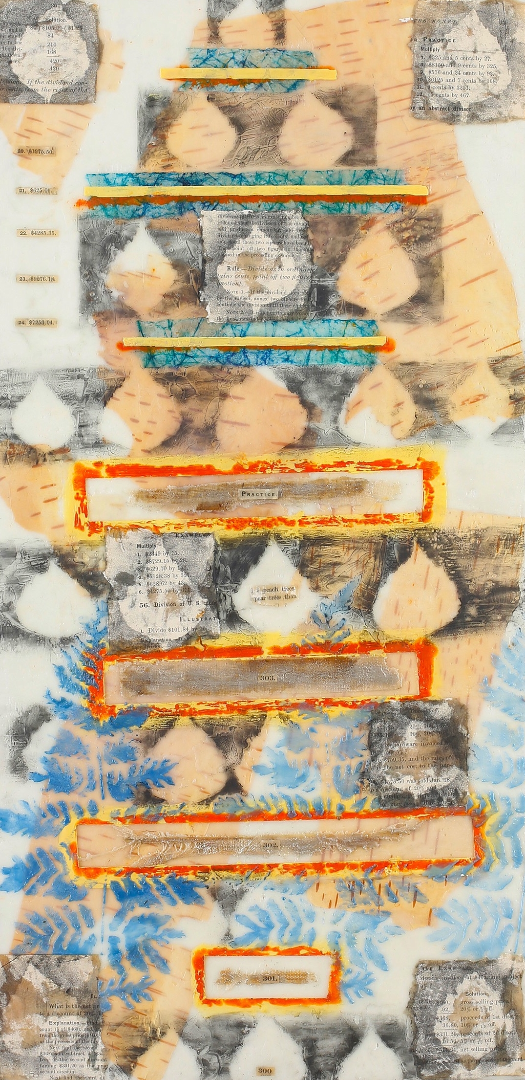 """By the Numbers encaustic, mixed media & birch bark, 12x24"""""""