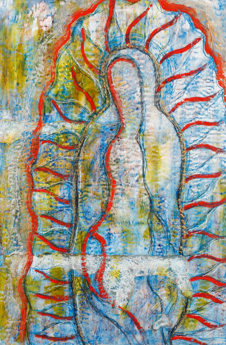 """Madre Is That You? encaustic & mixed media, 20x30"""""""