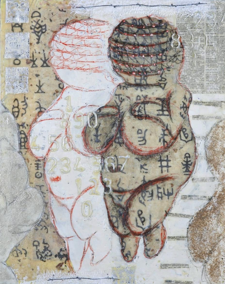 "Double Venus encaustic,mixed media & collage, 16x20"""