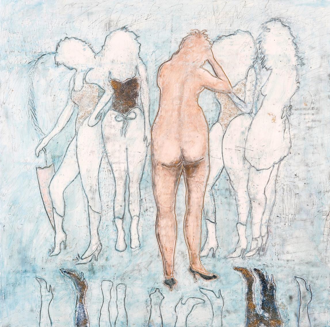 "Ladies of the Lake encaustic & mixed media, 18x18"""