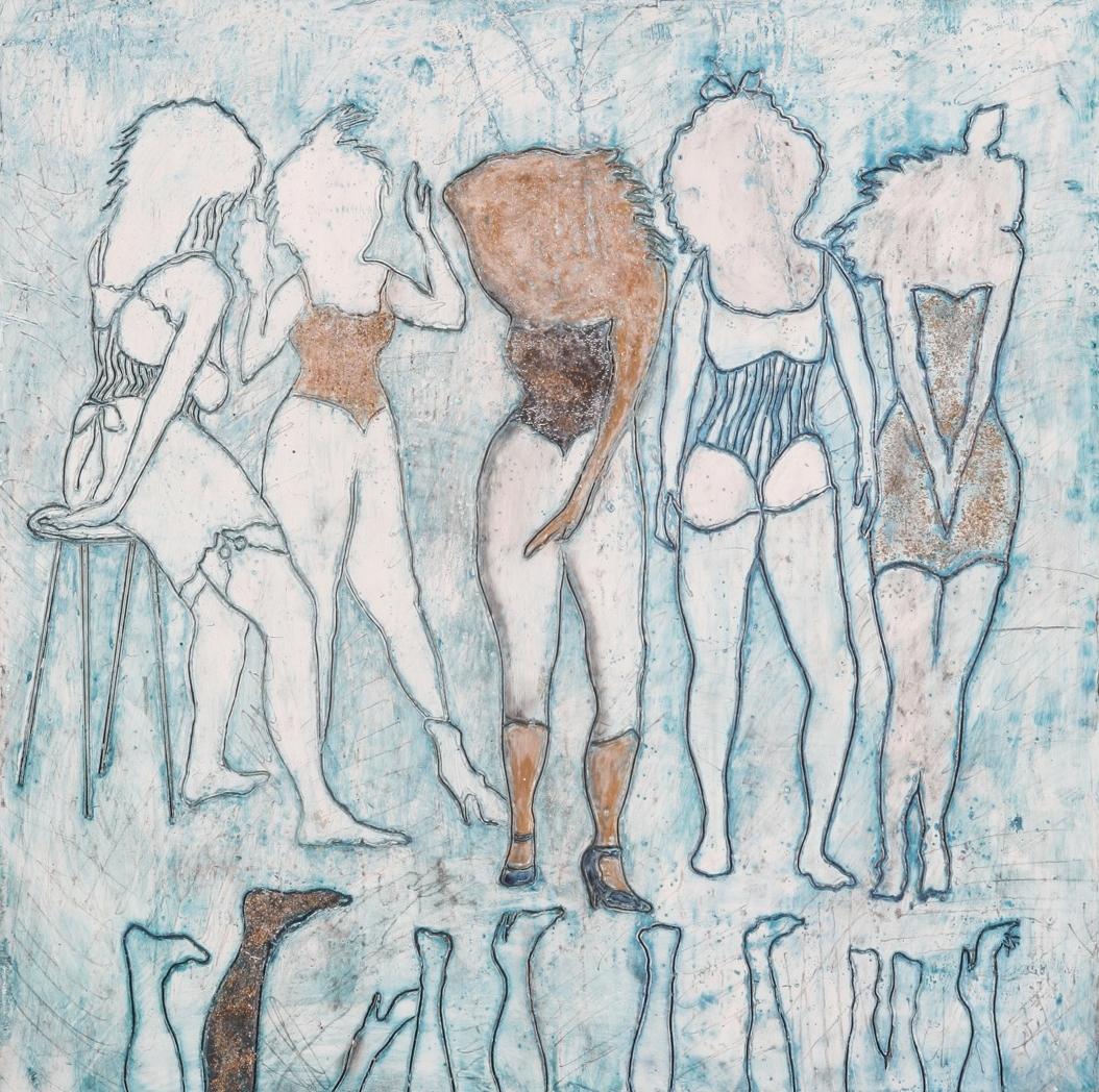 "Ladies of the Lake 2 encaustic & mixed media, 18x18"""