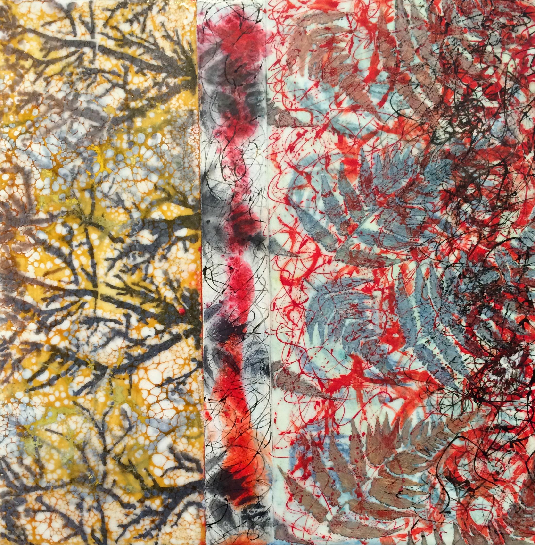 "Descent Into Winter encaustic, ink, graphite & shellac, 12x12"""