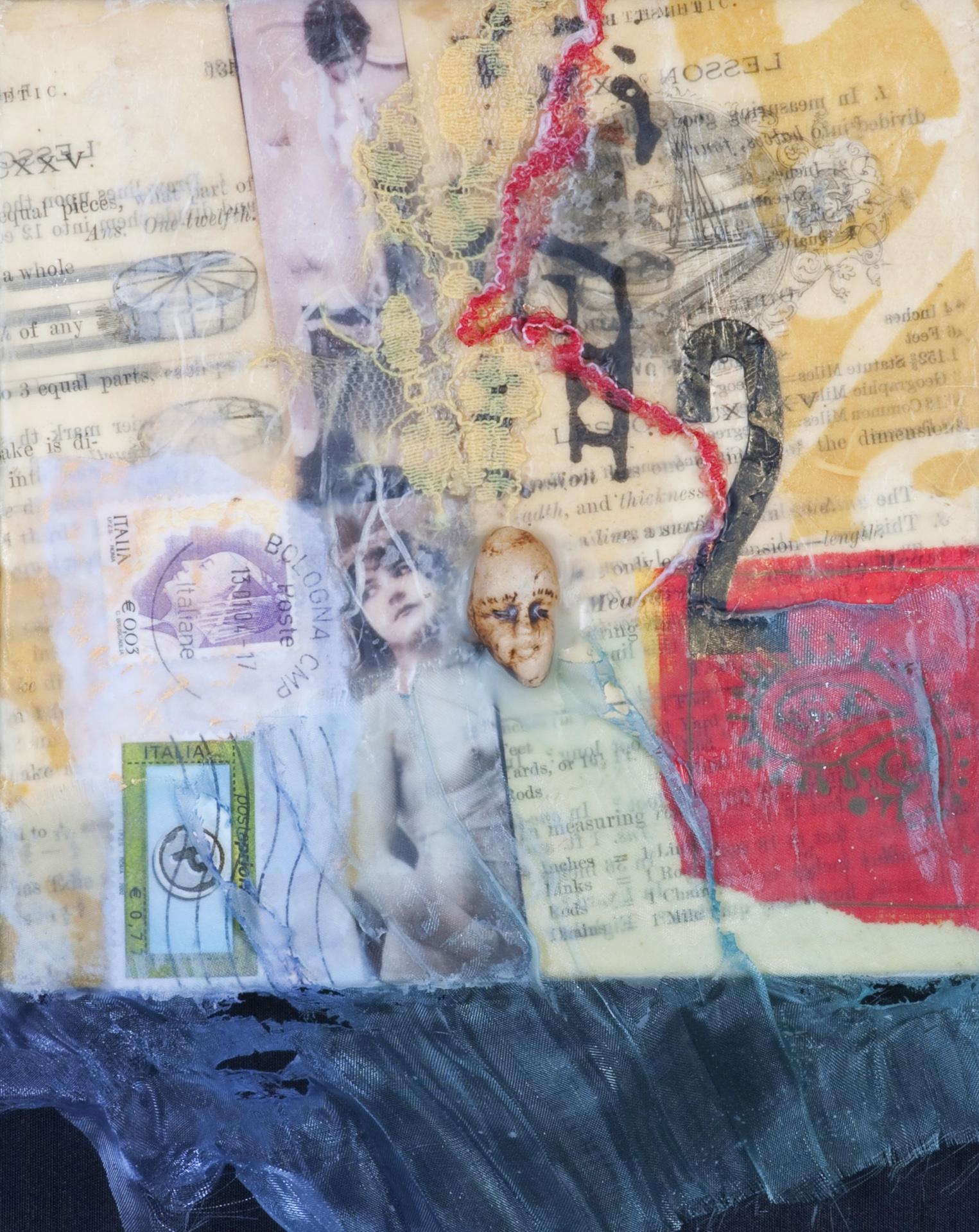 "2 Face encaustic, paper, fabric & clay, 6x8"""