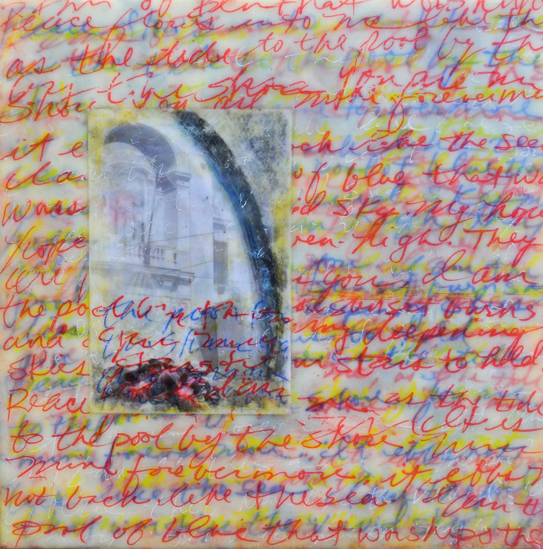 "Mary Reflecting encaustic, photo & mixed media 8x8"""