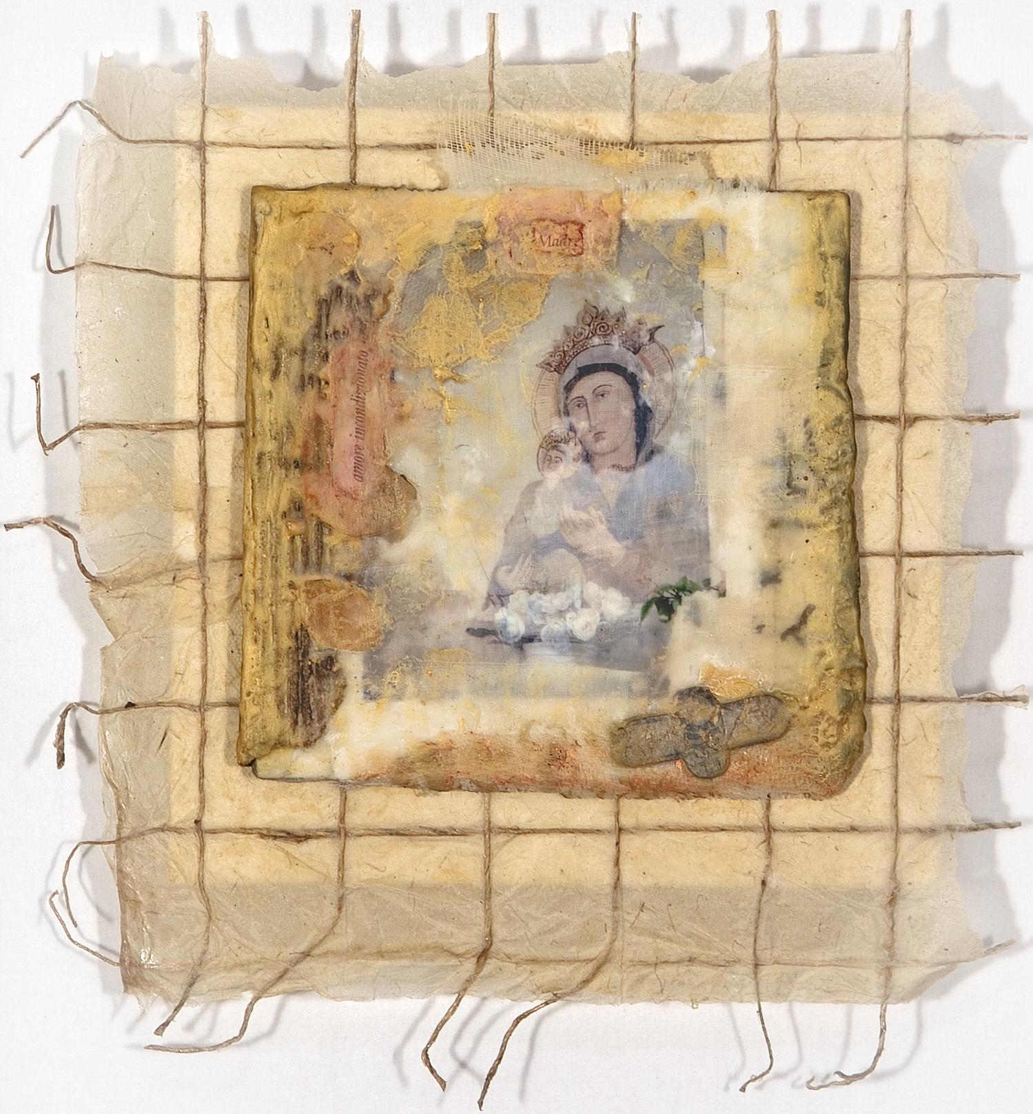"""Amore Incondizionato encaustic, photo on fabric, & paper, 12x12"""""""
