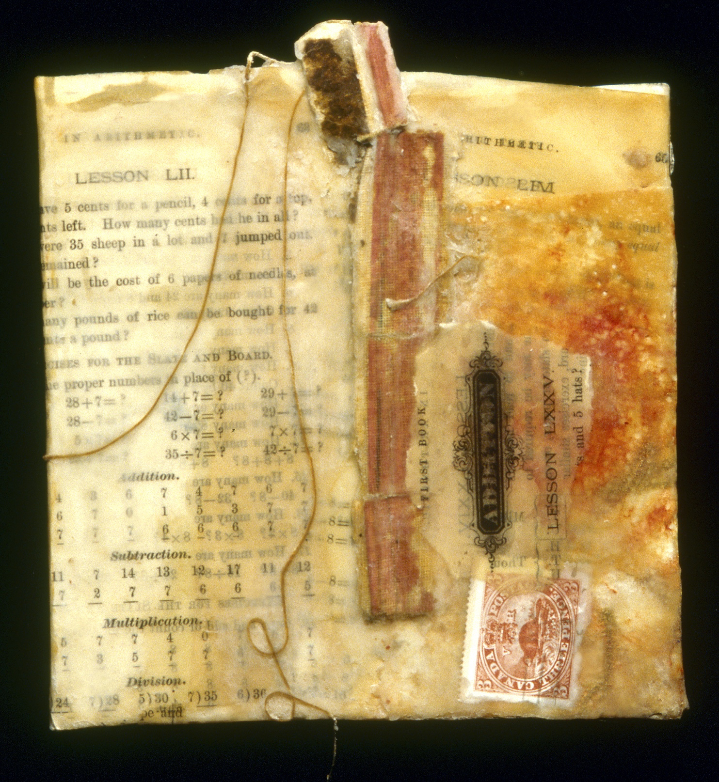 The Math Lesson-SOLD beeswax, book pages & spine