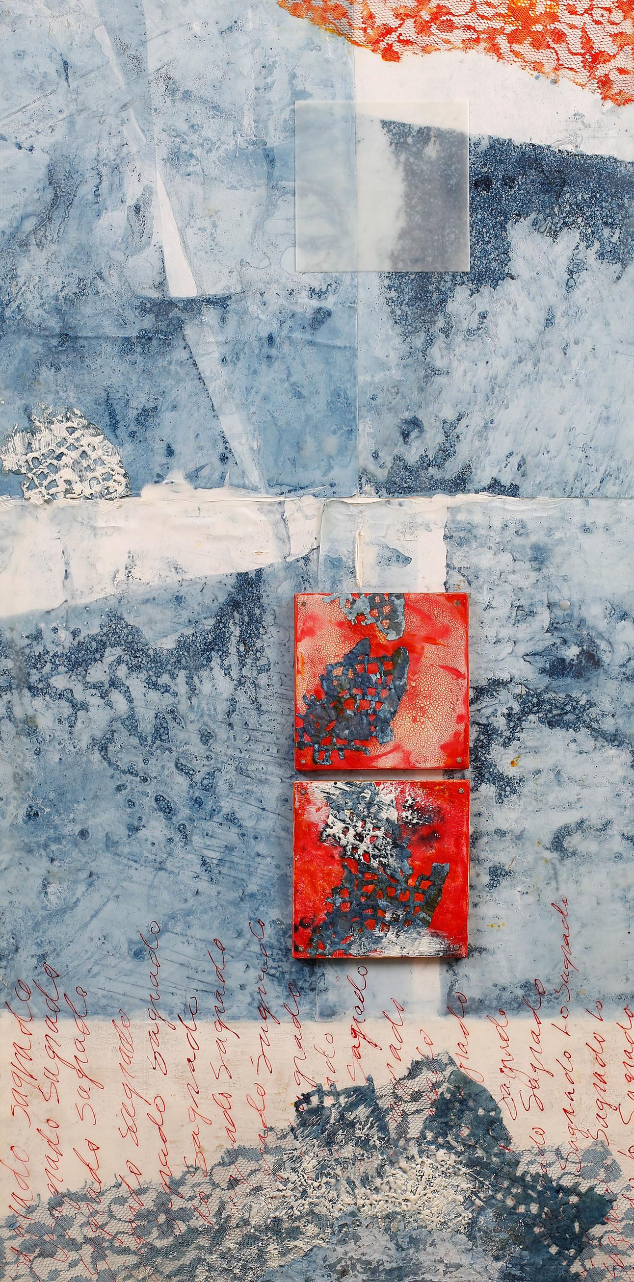 "Lo Sagrado (The Sacred...Place) encaustic, indigo-dyed paper, ink, 15x30"""