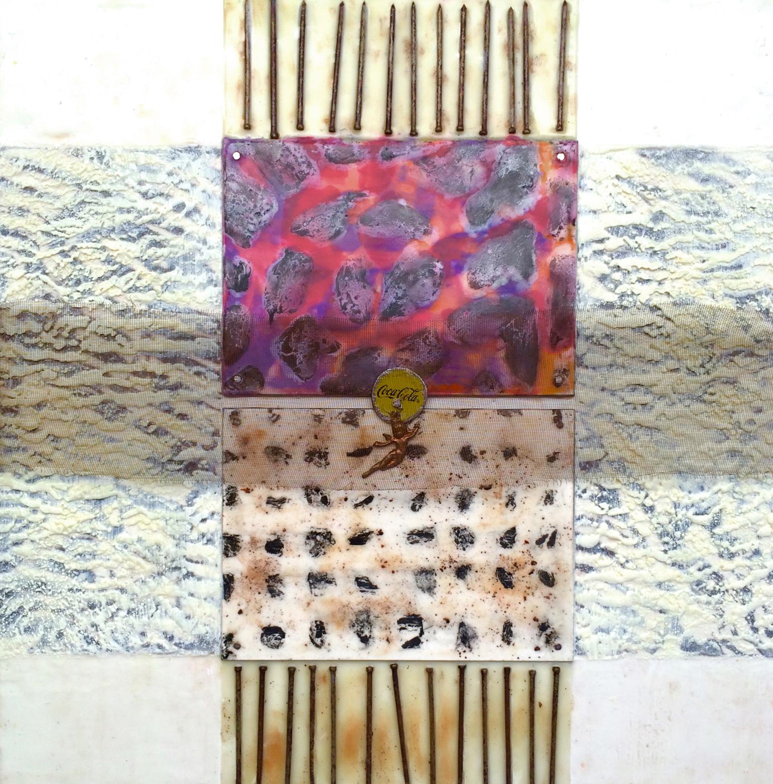 "Cruciform with Angel and Coca Cola encaustic, metal mixed media, 14x14"""