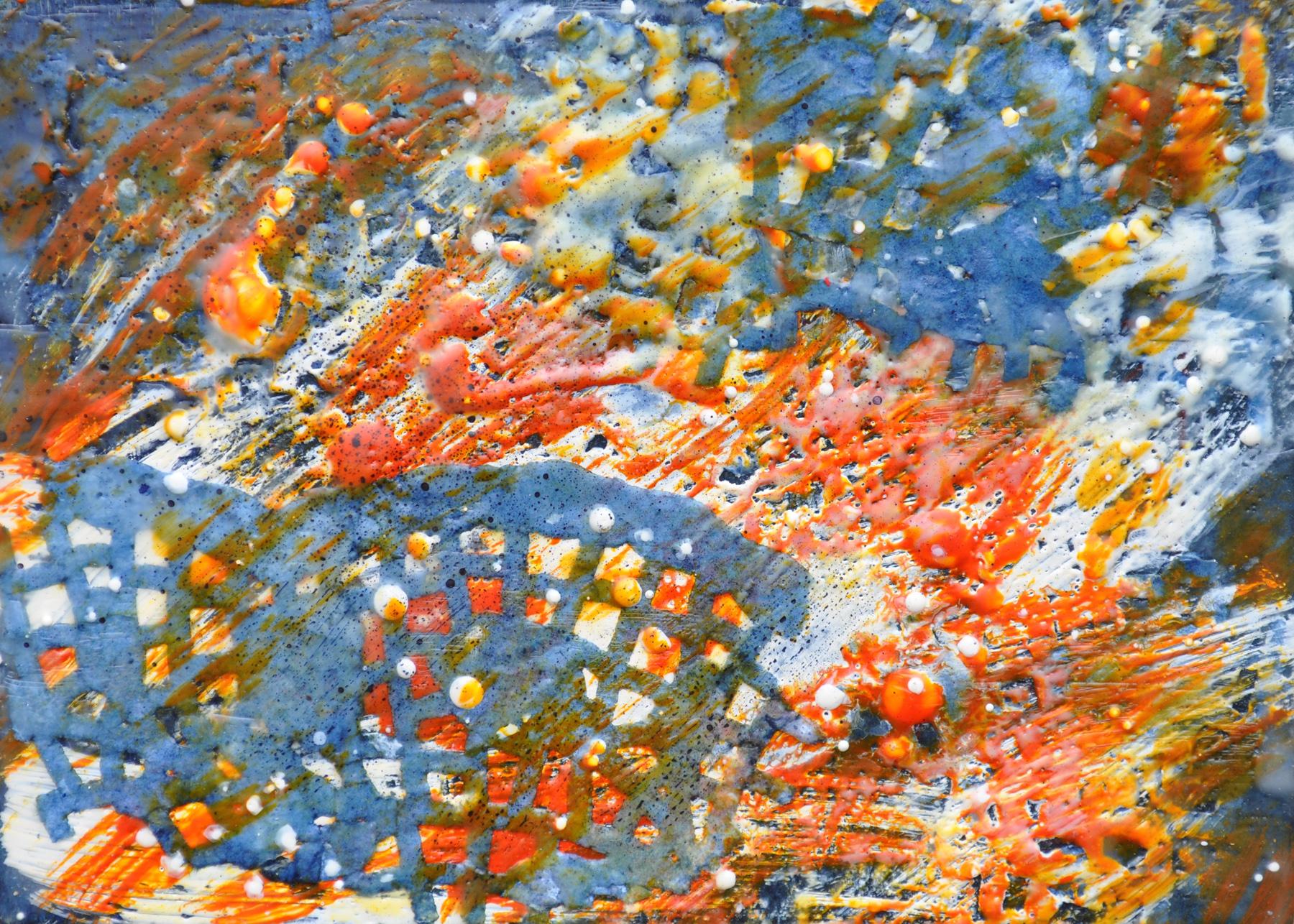 "La Alborada #2 (The Dawn #2) encaustic, indigo-dyed paper, 7x5"""
