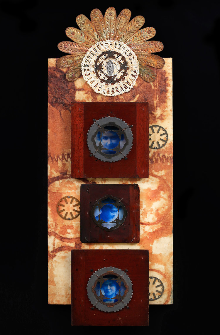 """Allie Belle as a Young Woman vintage camera parts, photos, metal, rust, beeswax, 12x32"""""""