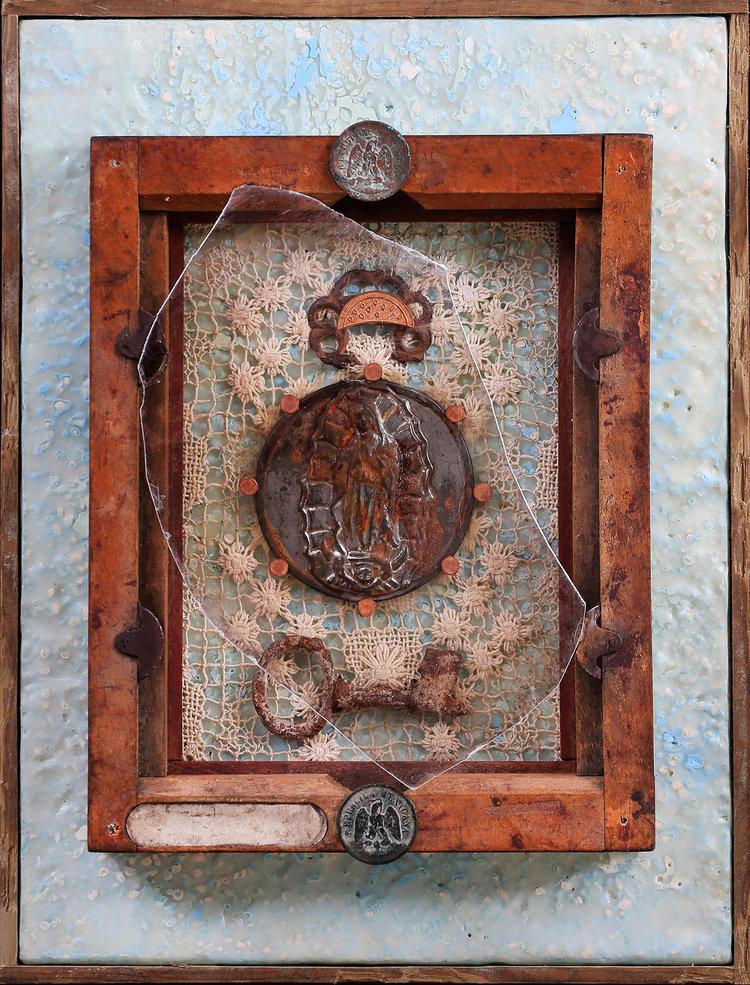 "Nuestra Senora de Oxido (Our Lady of Rust) encaustic, metal, wood, mica, 9x12"", SOLD"
