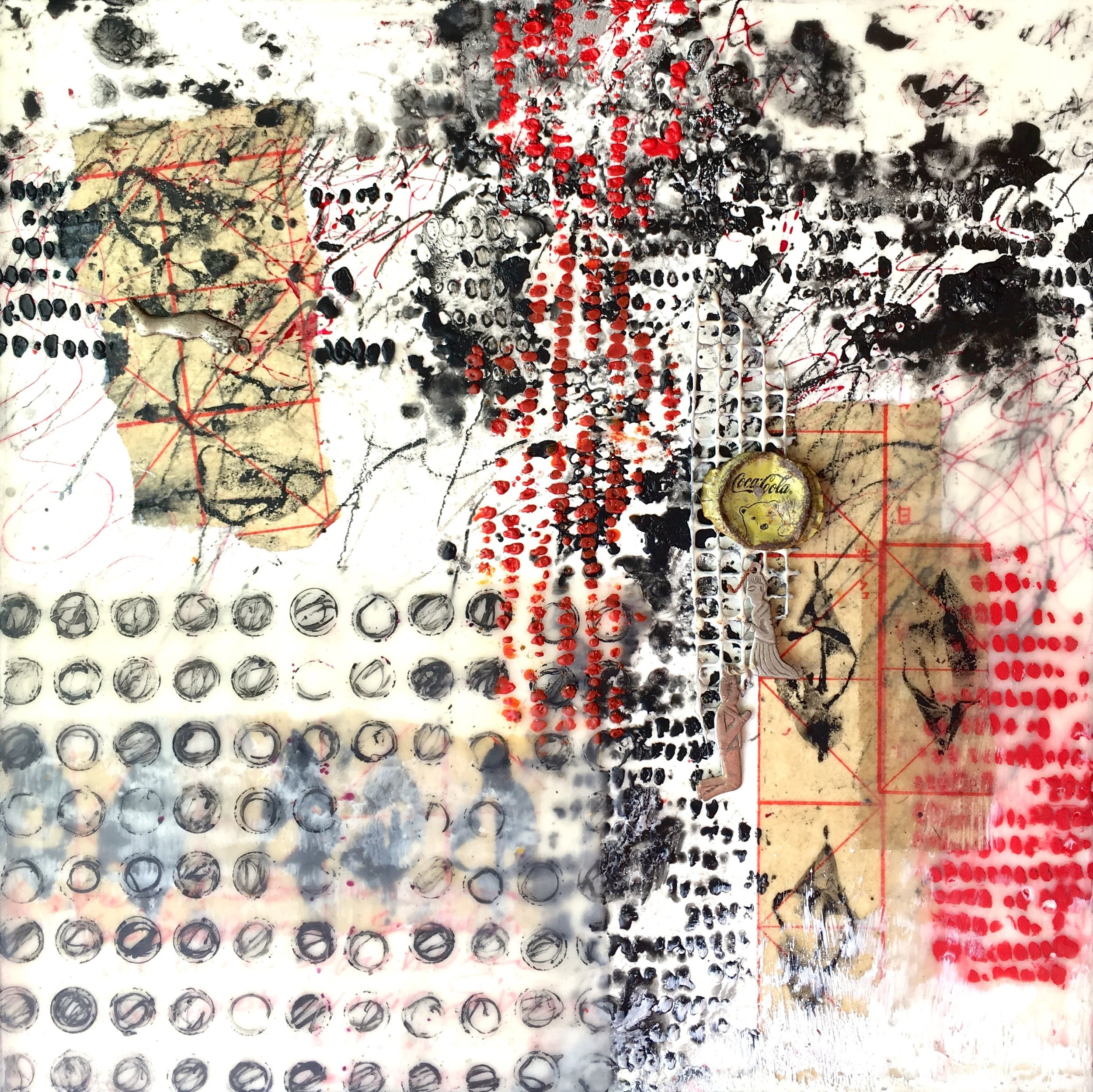 """Cruce Silencioso (Silent Crossing) encaustic, mixed media, metal, found objects, 12x12"""""""