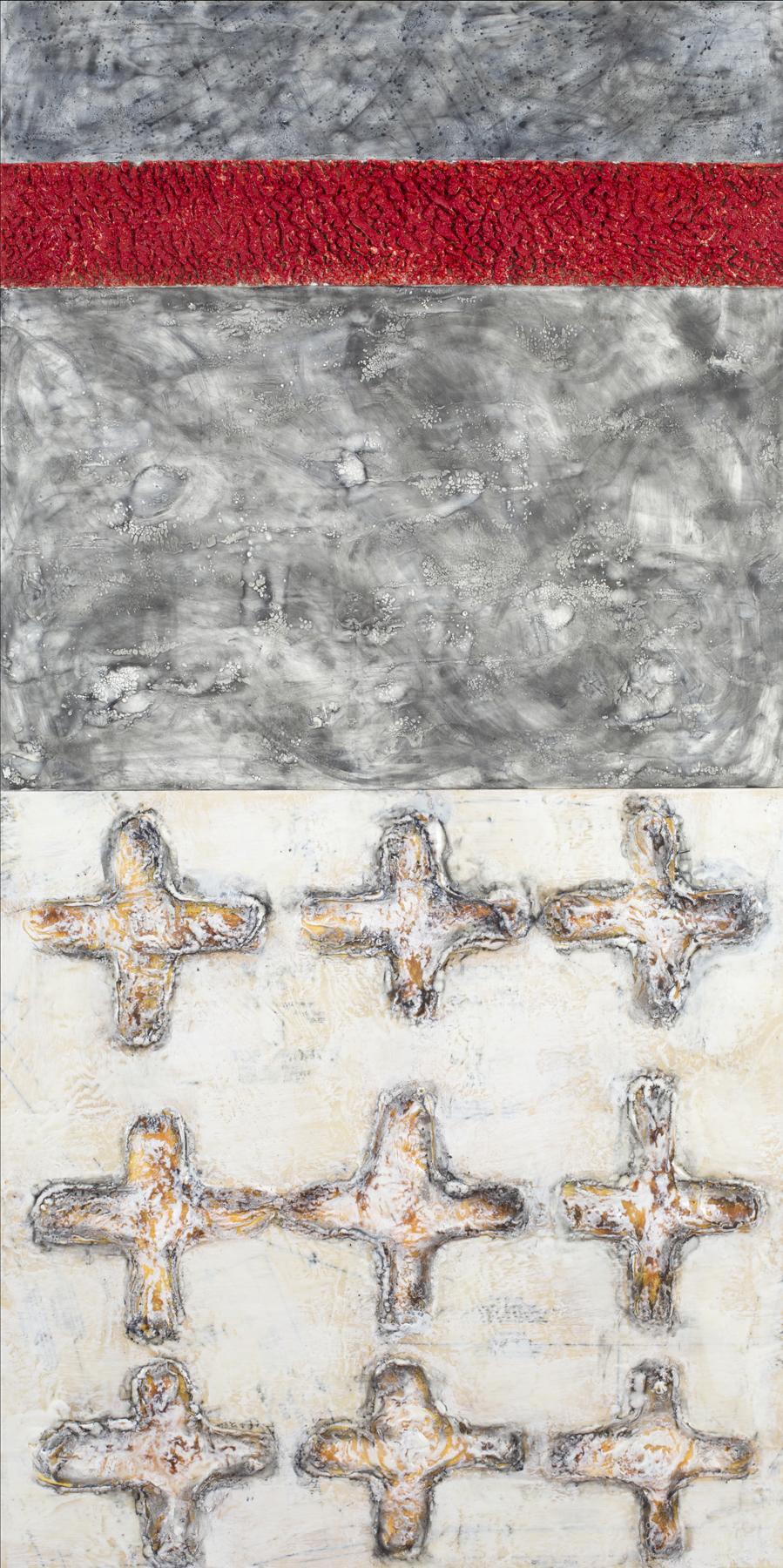 "Cruciform Deconstruction 1 encaustic, graphite, wood glue, sewing patterns, 24x48"""