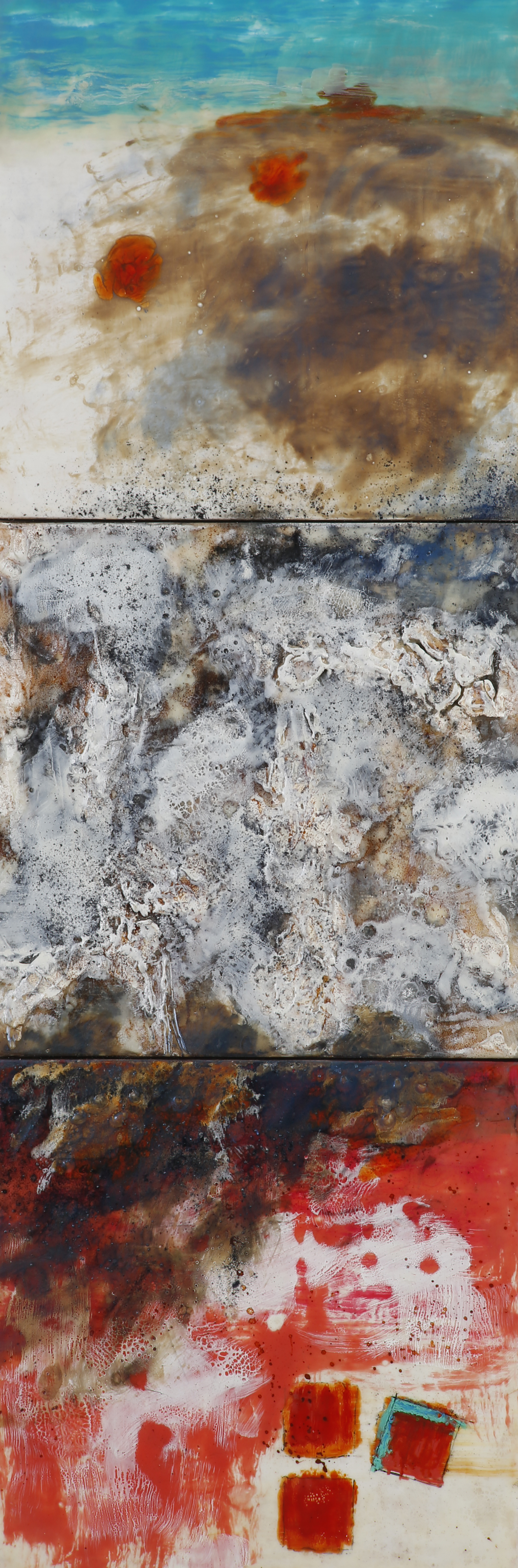 """The Irony Of It All encaustic, mixed media, 12x36"""""""