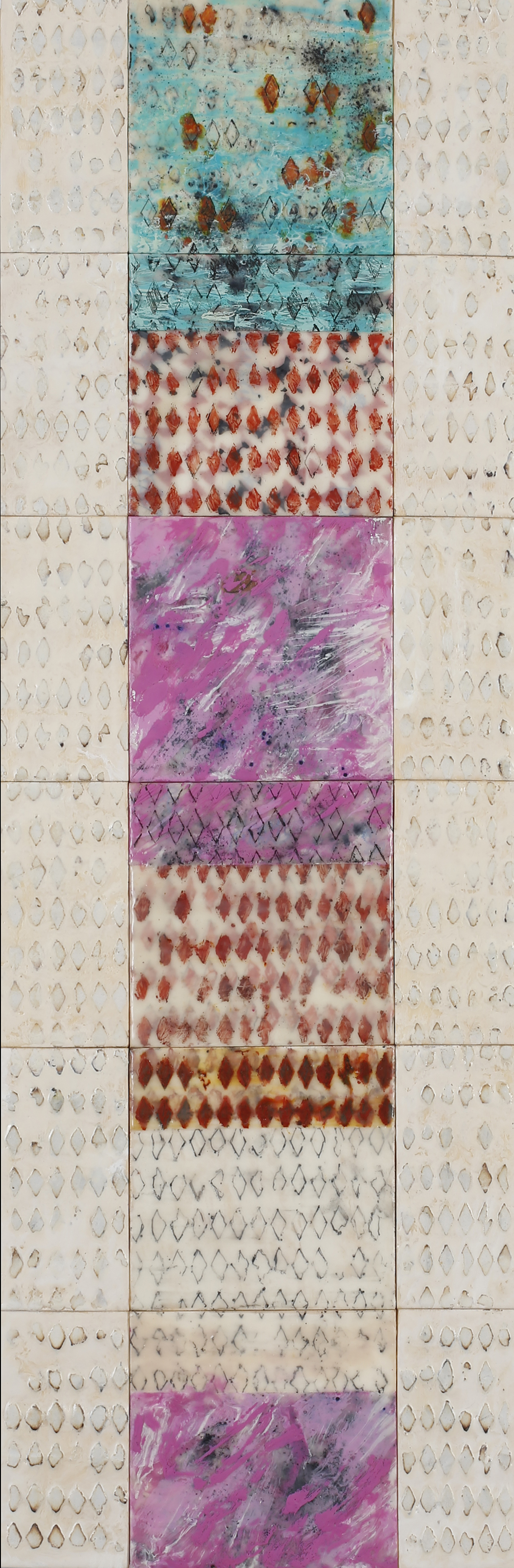 """La Casa Rosada de al Lado encaustic, mixed media, 12x36"""" (comprised of 18 assembled panels)"""
