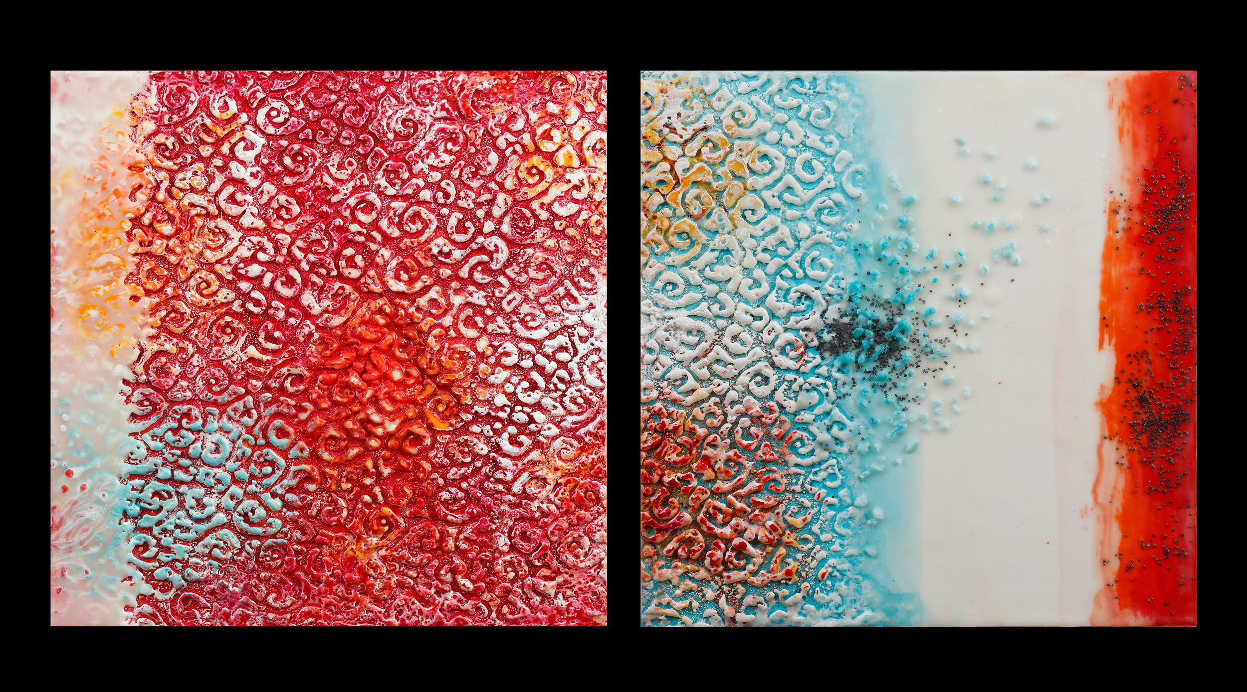 "Where Fire Meets Water encaustic, mixed media, rocks, Icelandic sand, 25x12"" diptych"