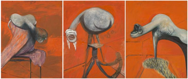 Three studies of figures at the base of a crucifixion by Francis Bacon c. 1944