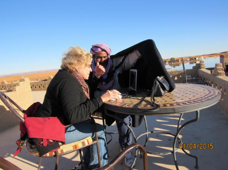 Impromptu Workshops can happen at anytime - Even in the Sahara Desert!   Valerie Porr is teaching the neurobiology of BPD in the Sahara Desert.