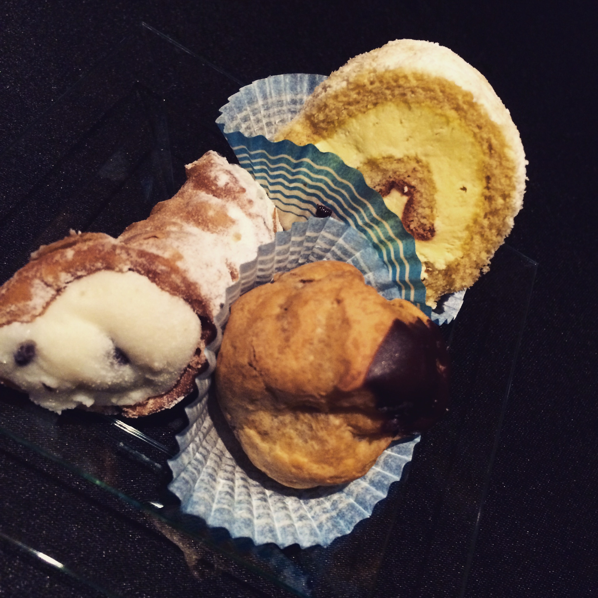 Three course dinner: cannoli; cream chocolate puffs & Italian cream cake