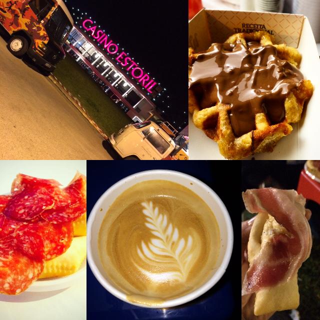 Clockwise:Belgian style waffles (com chocolate Belga) WAFFLERIA; Gnocco com salami MOZAO; Cappuccino, Copenhagen Coffee Lab; Gnocco Carbonara com pancetta.