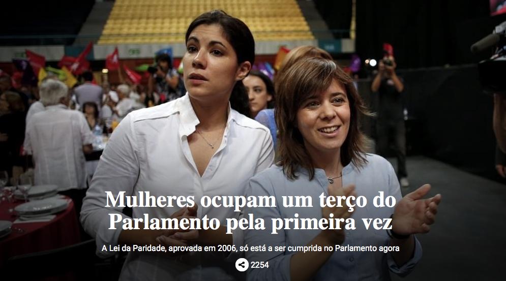 Um terço dos deputados que vão compôr o Parlamento nesta legislatura são mulheres.