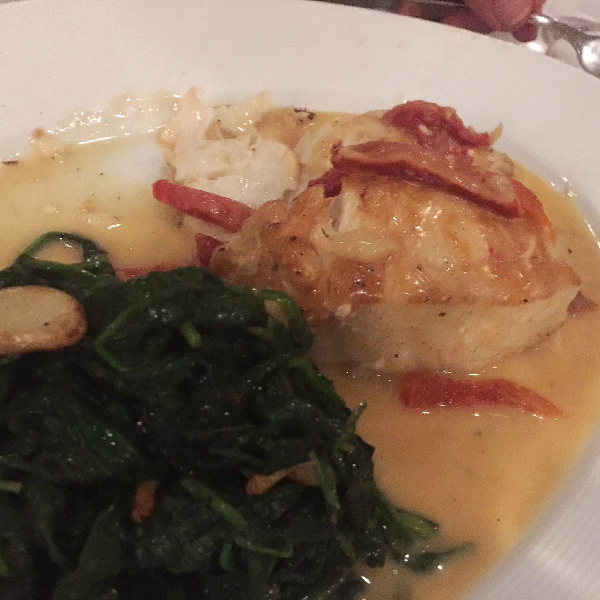 Spinach, bass and crab