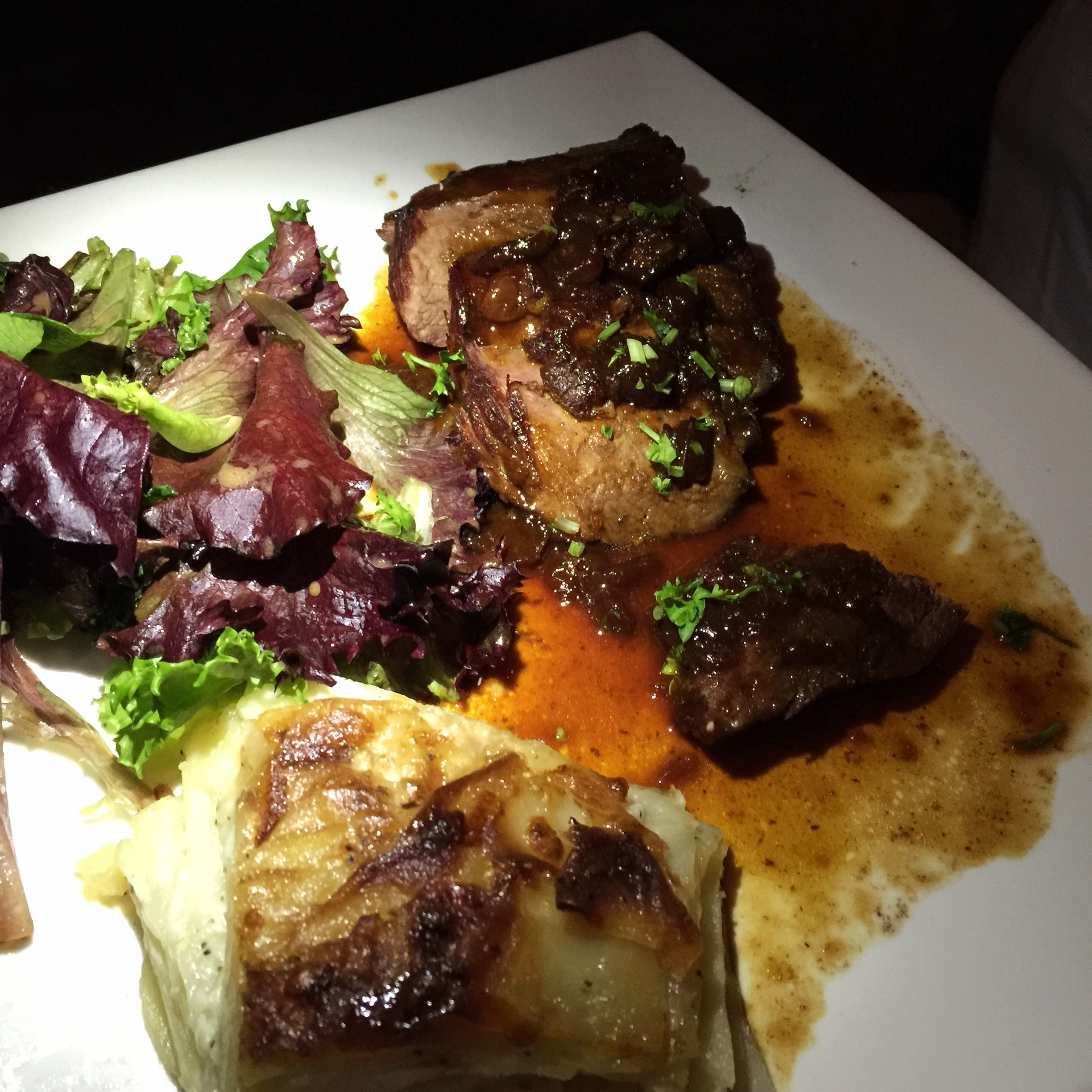 Magret de Canard Pan seared duck breast with broccoli rabe & ginger glaze
