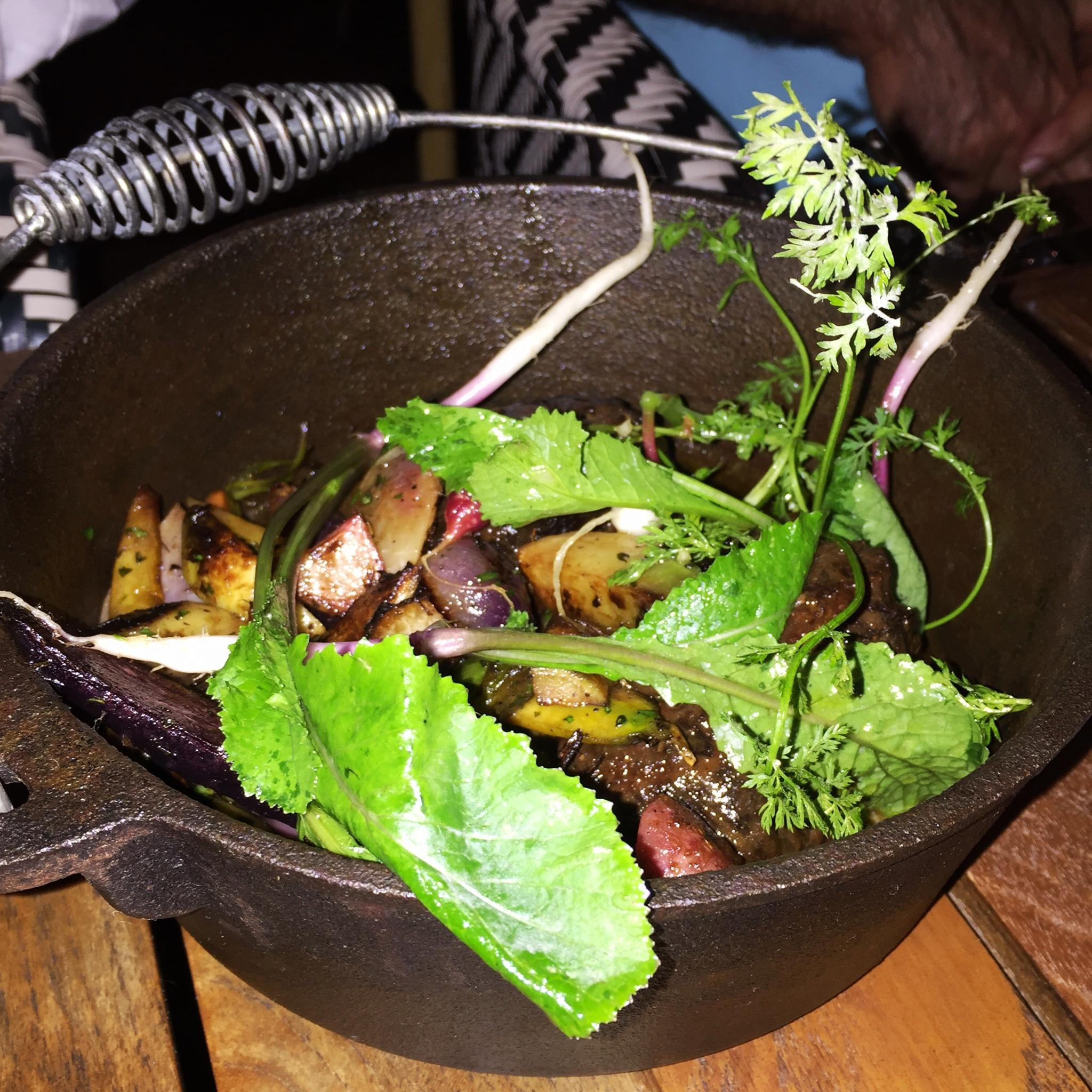 braised maitake mushrooms