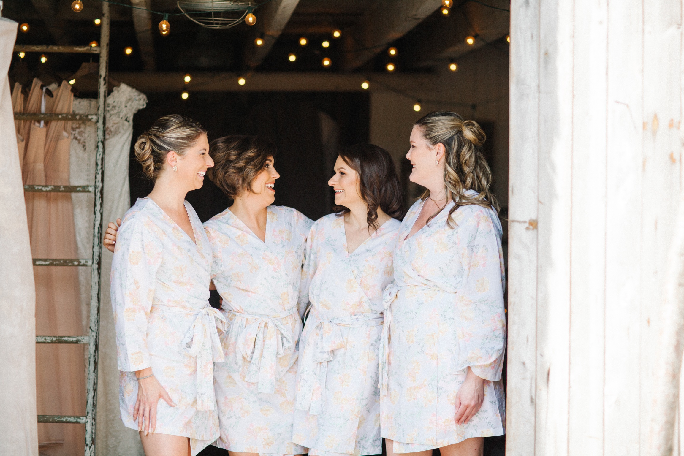 Peach Plum Pear robes for bridesmaids in the Mushroom House at Terrain