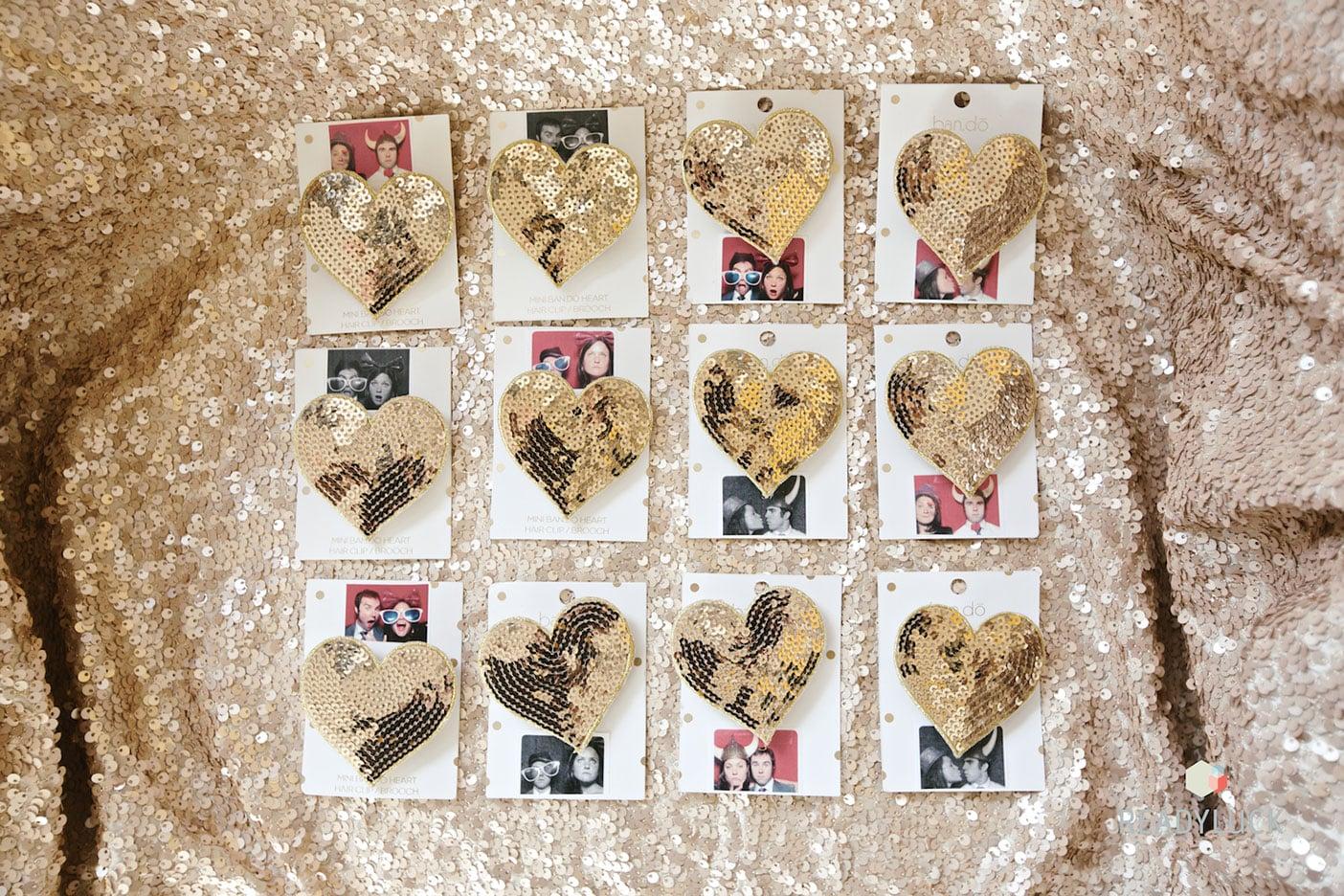 Gold sequin heart wedding favors | Industrial warehouse wedding in Fishtown Philadelphia at Front & Palmer | Wedding planner & wedding design: Heart & Dash | Photo: Readyluck | Flowers: Vault + Vine