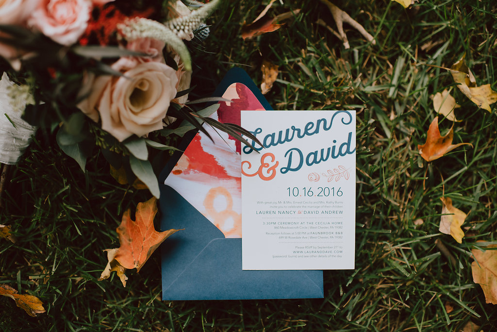 Bride designed their wedding invitations for their West Chester wedding :: wedding planner: Heart & Dash :: Pat Robinson Photography