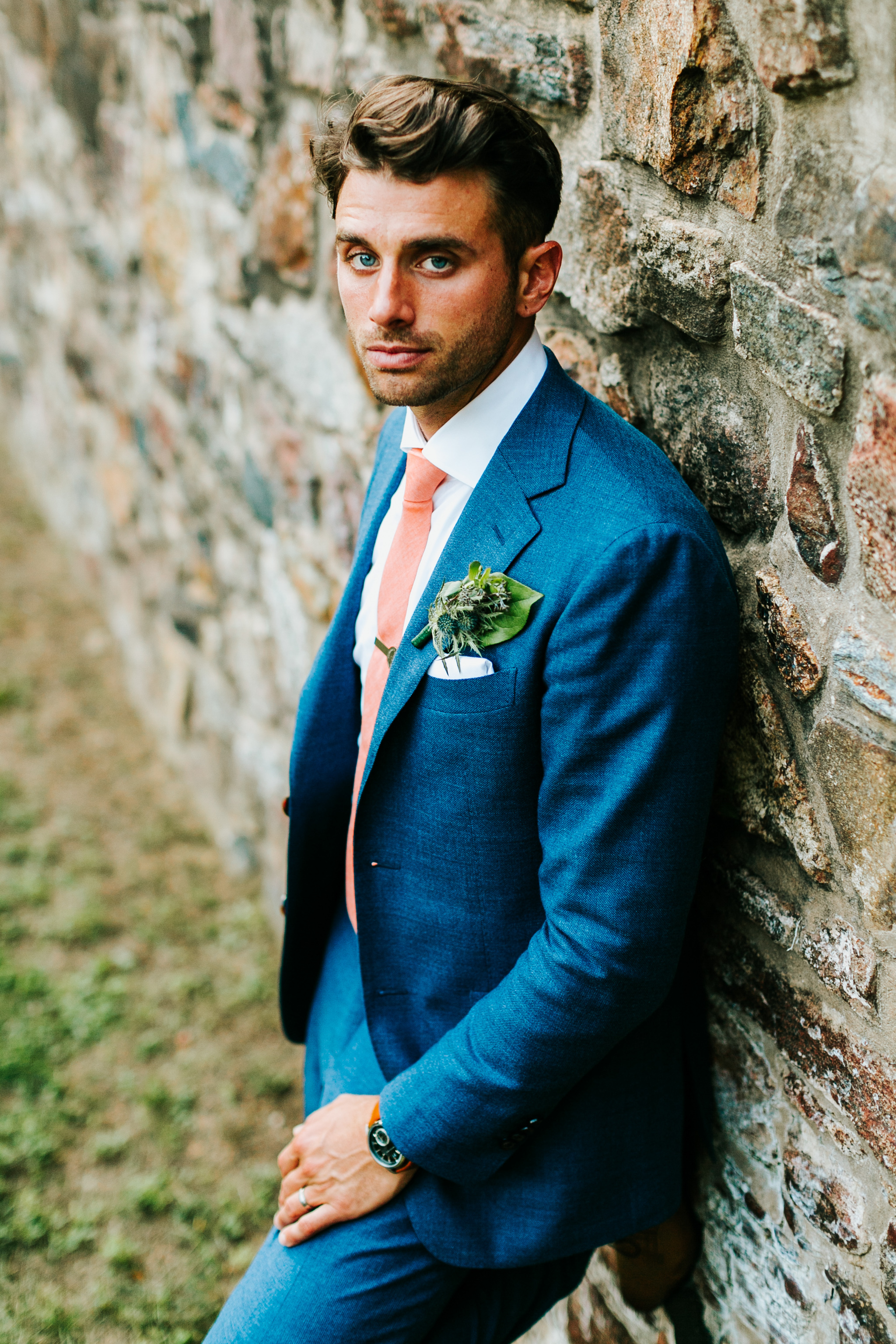 Historic Yellow Springs Wedding with DIY Details and Boho Vibe with Wedding Coordination by Heart & Dash Images by Danfredo with groom wearing navy suit