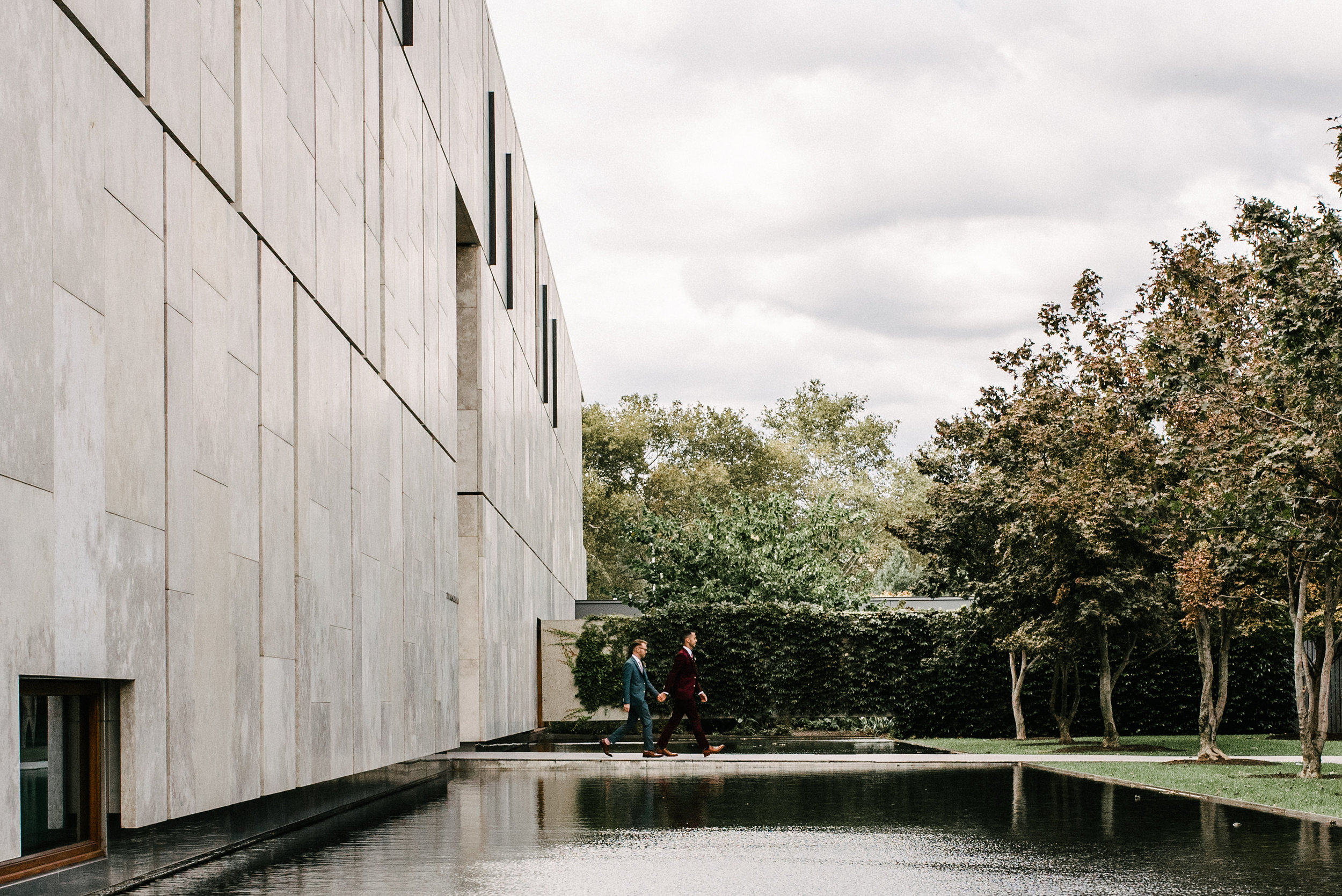 Two grooms first look at Barnes Foundation in Philadelphia with day-of coordinator Heart & Dash and photos by AGP Collective