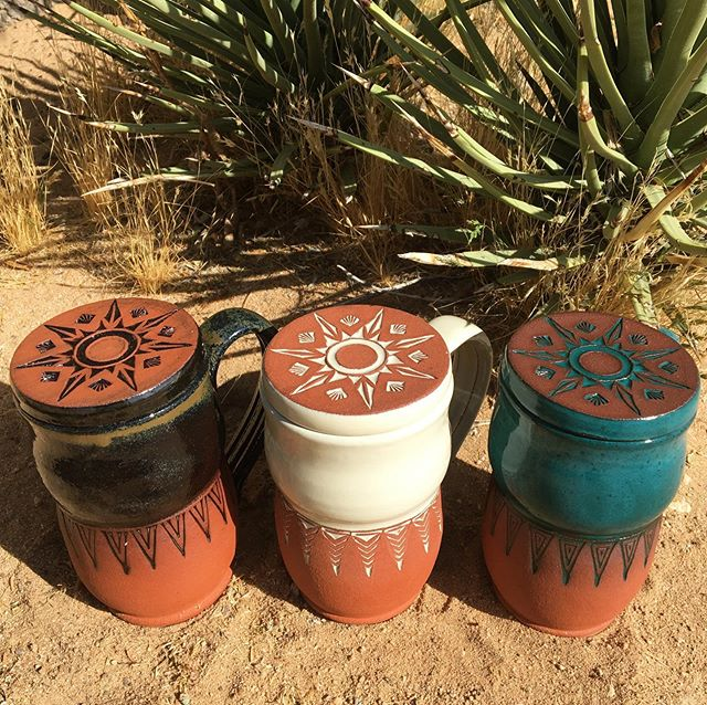 Going out with a 💥!! Some final pieces that came out of the kiln this past weekend! This custom Mojave Mug + Mandala Lid Set is probably one of my favorite orders I have ever made. They were created for the client whom we built the patio wall for in the previous post. The mandala star designs are the same as the tiles and I wanted to make some everyday wares that she could enjoy and use! What a great way to end this chapter and start a summer of travels and adventure...🧡
